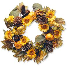 """National Tree Company 22"""" Wreath with Pumpkins and Sunflowers"""