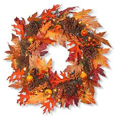 """National Tree Company 24"""" Harvest Maple Wreath and 35 Clear Lights"""