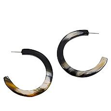 Natural Beauties 50mm Watusi Cattle Horn Hoop Earrings