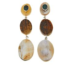 Natural Beauties Buffalo Horn and Blue Drusy Drop Earrings