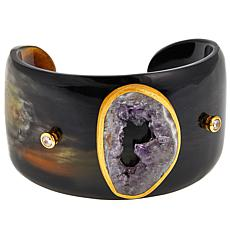 Natural Beauties Buffalo Horn, CZ and Agate Cuff Bracelet