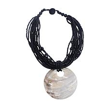 Natural Beauties Coconut Shell Bead and Mother-of-Pearl Drop Necklace