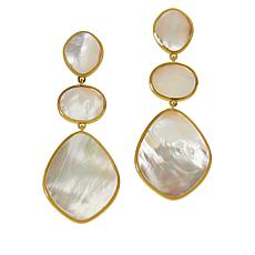 Natural Beauties Goldtone Sterling Silver Mother-of-Pearl Drop Earring