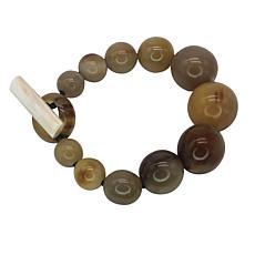 Natural Beauties Watusi Cattle Horn Bead Graduated Bracelet