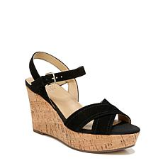 Naturalizer Zia Black Suede Ankle Strap Wedge Sandal