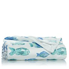Nautical Fish Microplush Throw Blanket