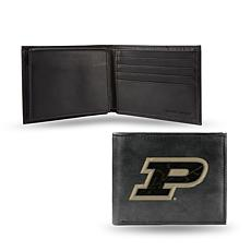NCAA Embroidered Leather Billfold Wallet - Purdue