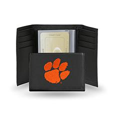 NCAA Embroidered Leather Trifold - Clemson