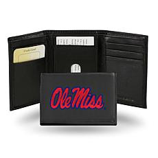 NCAA Embroidered Leather Trifold Wallet - Ole Miss