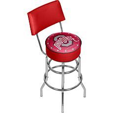 NCAA Padded Bar Stool with Back - Ohio State