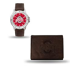 NCAA Team Logo Watch and Wallet Combo Gift Set in Brown - Ohio State