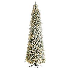 Nearly Natural 10' Slim Flocked Montreal Fir  Christmas Tree