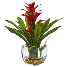 "Nearly Natural 12"" Bromeliad with Vase Arrangement - Red"