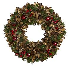 "Nearly Natural 15"" Holiday Artificial Wreath w/Pine Cones & Ornaments"
