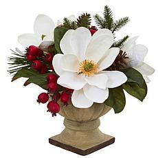 "Nearly Natural 15"" Magnolia, Pine & Berries Artificial Arrangement"