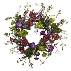 "Nearly Natural 20"" Veranda Garden Wreath"
