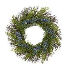 """Nearly Natural 21"""" Cedar with Blue Berries Artificial Wreath"""
