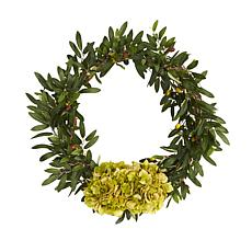 """Nearly Natural 21"""" Olive with Hydrangea Artificial Wreath"""