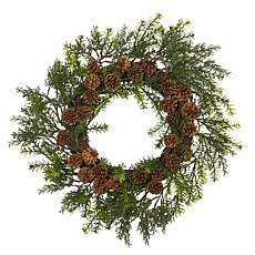 "Nearly Natural 22"" Cedar, Grass & Pine Cone Artificial Wreath"