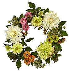 "Nearly Natural 22"" Mixed Dahlia and Mum Wreath"
