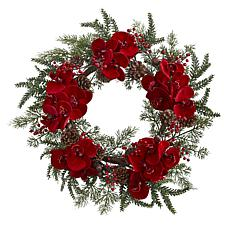 "Nearly Natural 22"" Orchid, Berry and Pine Holiday Wreath"