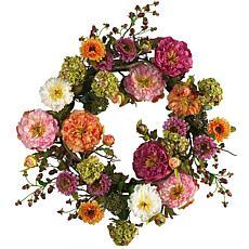 "Nearly Natural 24"" Mixed Peony Wreath"