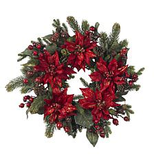 "Nearly Natural 24"" Poinsettia & Berry Wreath"