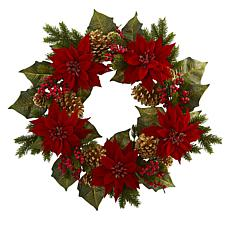 "Nearly Natural 24"" Poinsettia Berry & Gold Pine Cone Artificial Wreath"
