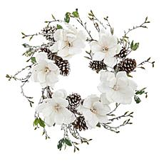 "Nearly Natural 24"" Snowed Magnolia Pine Cone Wreath"