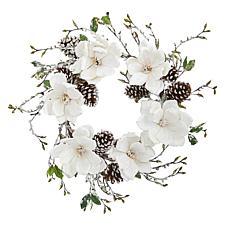 "Nearly Natural 24"" Snowed Magnolia Pine Cone Wreath"