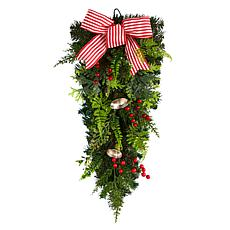 """Nearly Natural 26"""" Holiday Christmas Bells and Bow Artificial Swag"""