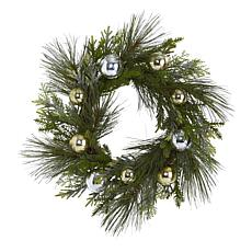 """Nearly Natural 26"""" Sparkling Pine Artificial Wreath with Ornaments"""
