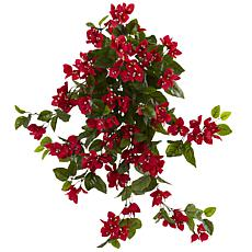 "Nearly Natural 28"" Bougainvillea Hanging Bush Artificial Plant 2-pack"