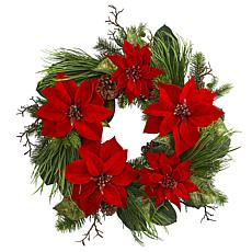 "Nearly Natural 28"" Poinsettia & Pine Wreath"