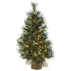 Nearly Natural 3-Ft. Christmas Tree w/Clear Lights, Pine Cones & Bag