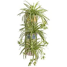 "Nearly Natural 39"" Artificial Spider Plant 3-Tiered Wall Decor Planter"