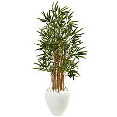 Nearly Natural 4 ft. Bamboo Tree in White Oval Planter