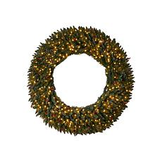 Nearly Natural 5' Large Flocked  Christmas Wreath with 400 Lights