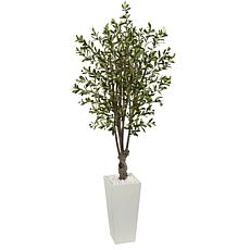 Nearly Natural 6 ft. Olive Tree in White Tower Planter