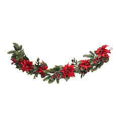 "Nearly Natural 60"" Poinsettia & Berry Garland"