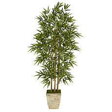 """Nearly Natural 65"""" Bamboo Artificial Tree in Country White Planter"""
