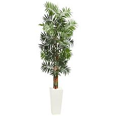 Nearly Natural 7 ft. Artificial Bamboo Palm Tree in White Planter