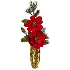Nearly Natural Magnolia & Pine Artificial Arrangement in Gold Vase