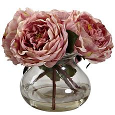 Nearly Natural Silk Fancy Rose with Vase