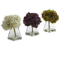 Nearly Natural Silk Hydrangea Flower Arrangement