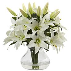 Nearly Natural Silk Lily Arrangement