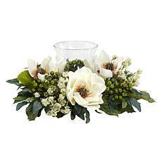 Nearly Natural Silk Magnolia Candelabrum Arrangement