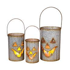 Nested Galvanized Corrugated Metal Pumpkin Luminaries (Set of 3)