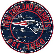 New England Patriots Round Distressed Sign