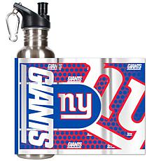 New York Giants Stainless Steel Water Bottle with Metal